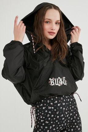 Penti Kadın Siyah Bu4u Oversize Crop Raincoat Sweatshirt