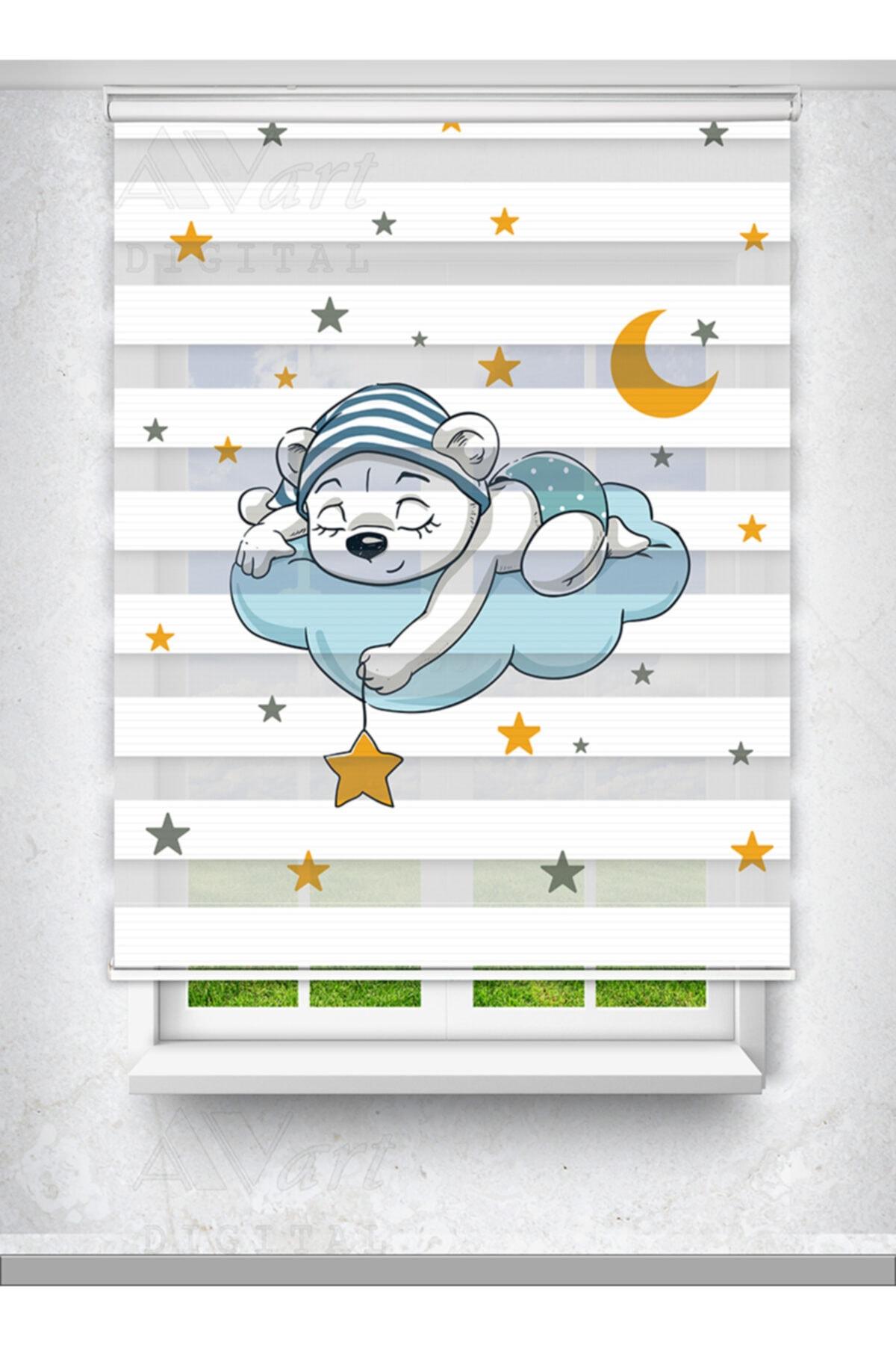 Avart Digital Sevimli Uyuyan Ayıcık Baskılı Zebra Perde - Çocuk Odası Perdesi - Baskılı Zebra Perde 1
