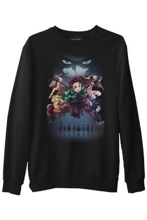 Lord T-Shirt Erkek Siyah Demon Slayer Uzun Kol Sweatshirt