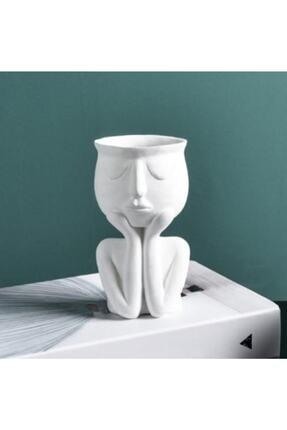 Cuteo Eli Yüzünde Beton Saksı - Beyaz