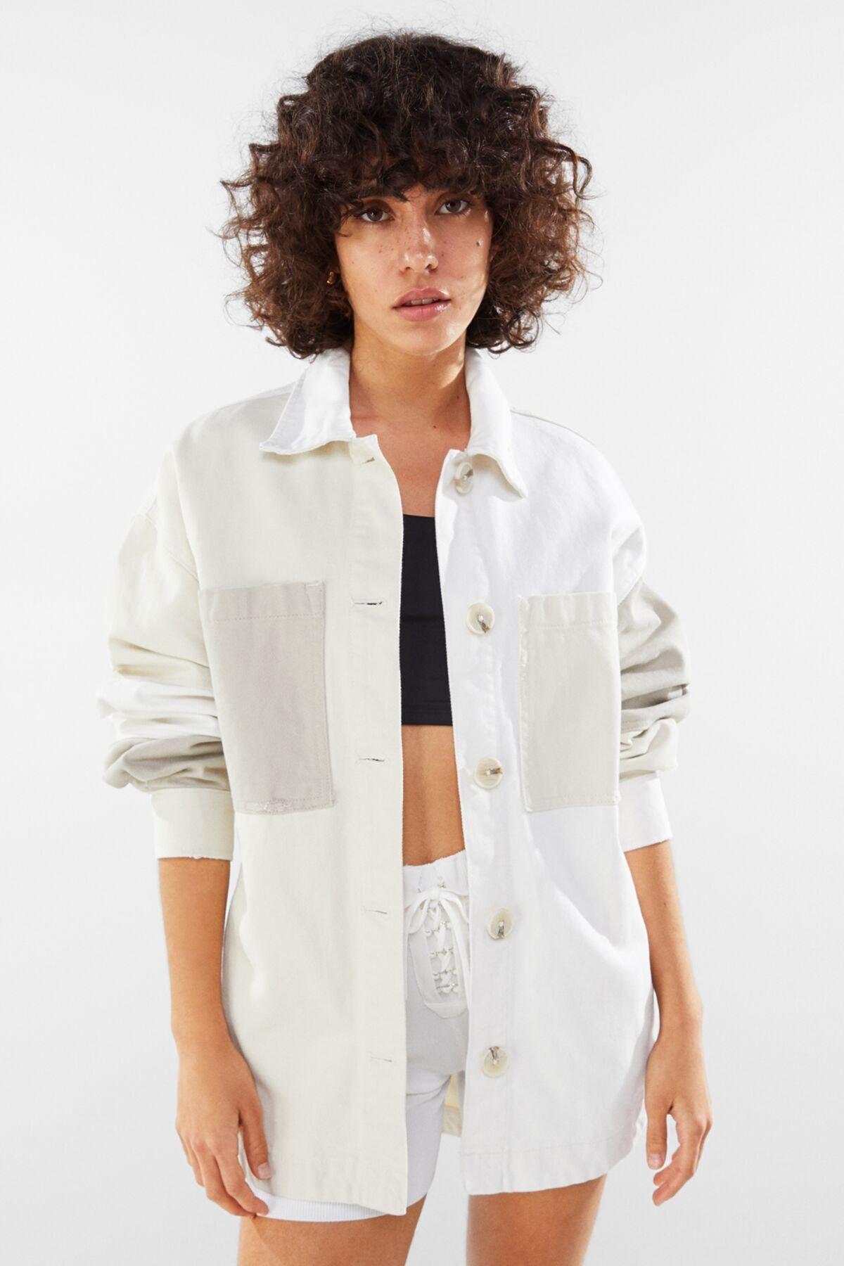 Bershka Kadın Bej Pamuklu İnce Ceket