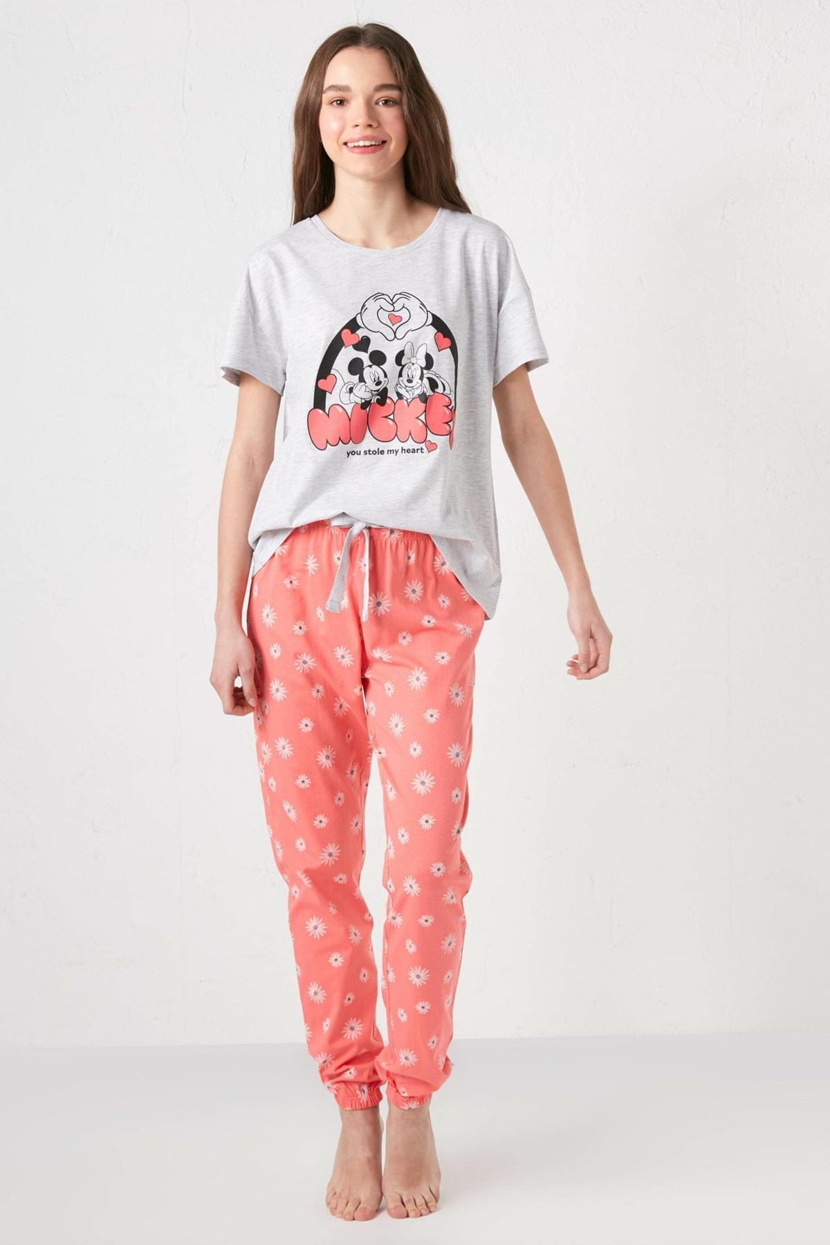 LC Waikiki Kadın Mercan Baskılı Pijama Takım 1