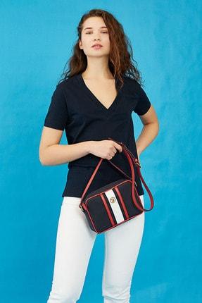 U.S. Polo Assn. Lacıvert-beyaz-kırmızı Kadın Postacı Çantası Us3033