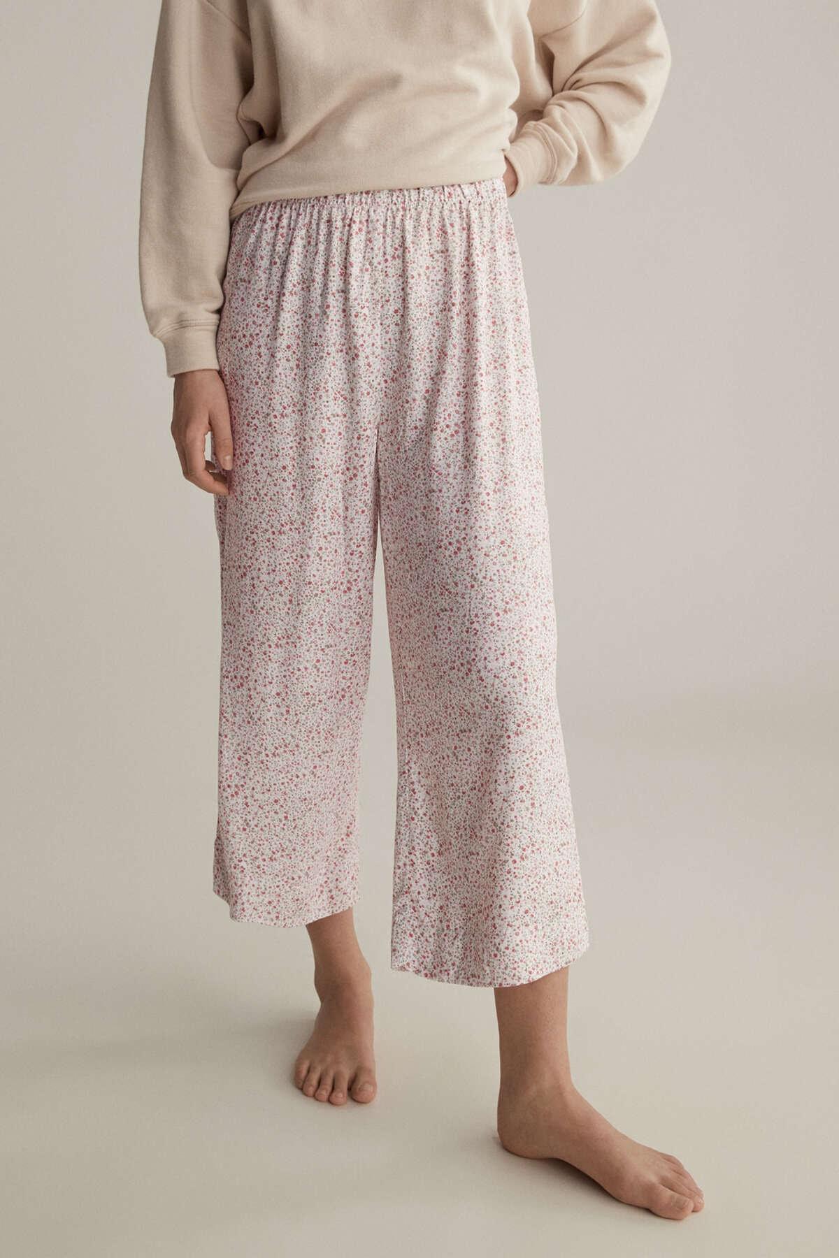 Oysho Kadın Beyaz Çiçekli Pantolon