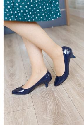 PUNTO Kadın Lacivert Rugan Fındık Topuklu Ayakkabı