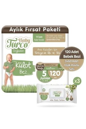Baby Turco Doğadan Külot Bez 5 Numara Junior 120 Adet + 3 x 60 Doğadan Islak Havlu