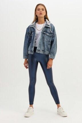 Quzu Kapüşonlu Oversize Kot Ceket Açık Mavi