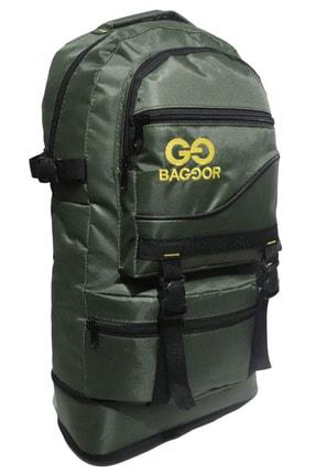 Baggor 65l Körüklü Koyu Yeşil Su Geçirmez Çok Gözlü Laptop Bölmeli Kampçı-seyahat-dağcı Sırt Çantası