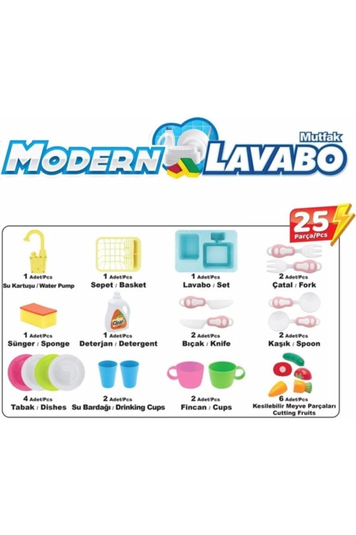 Kayyum Oyuncak Lavabo Seti Pilli Mutfak Oyuncak Modern Çeşmeli Oyuncak Seti 2