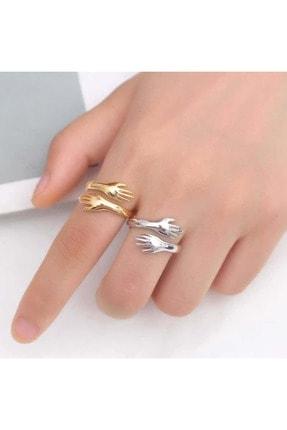 Gumush Gümüş Gold Sarılan Eller Yüzük