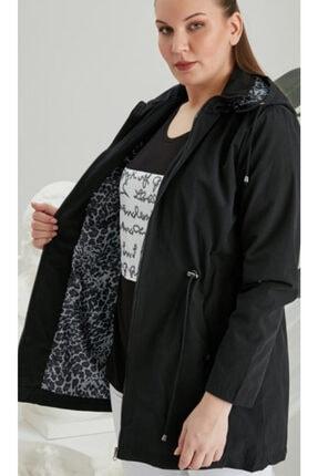 RMG KAdın Siyah Iç Astarlı Leopar Desenli Büyük Beden Trenç Kot