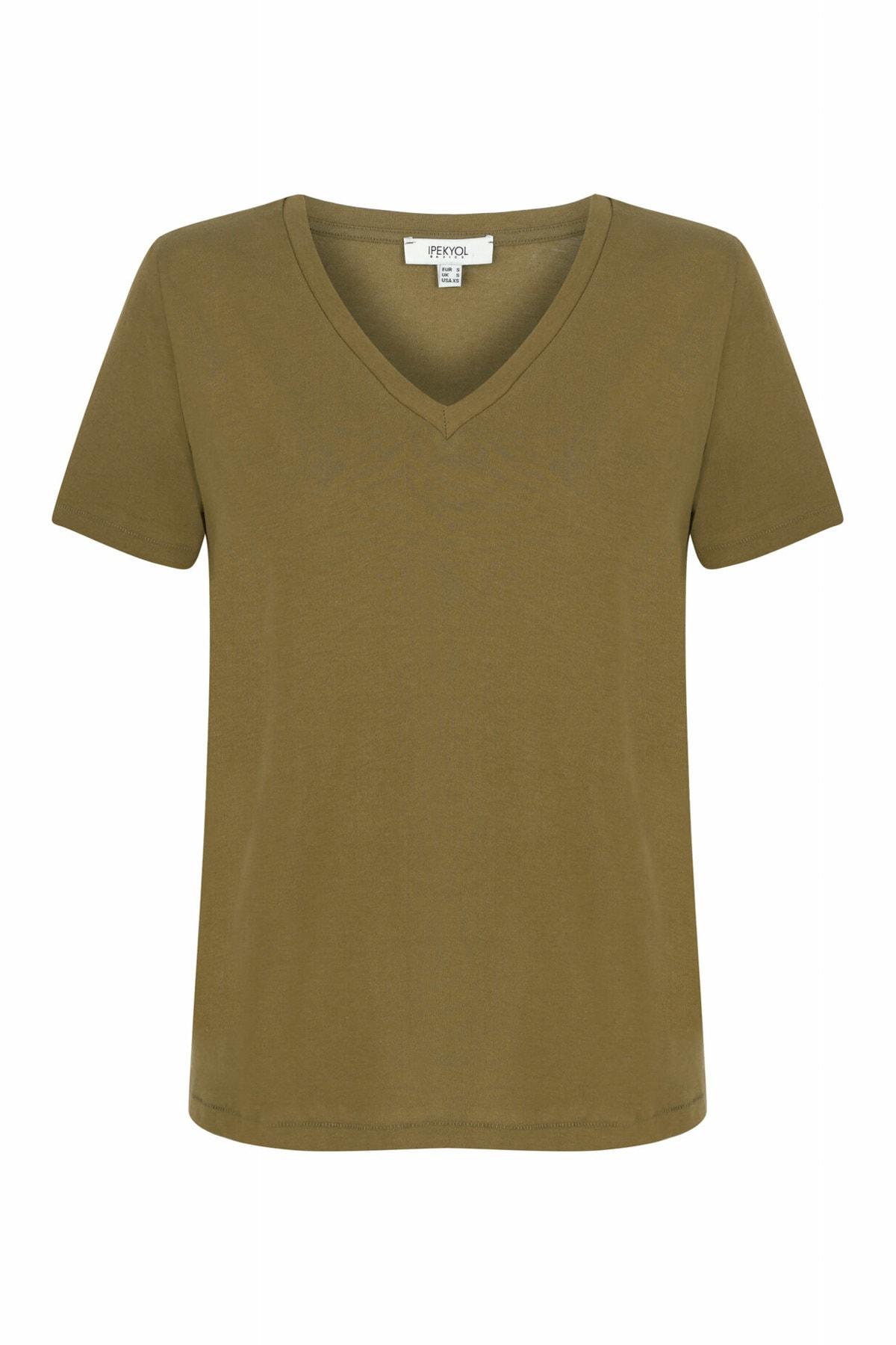 İpekyol Kadın Haki V Yaka Basic T-shirt 1