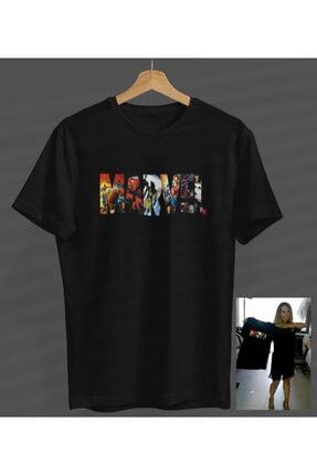 BYTURCAN Unisex Siyah Marvel Yuvarlak Yaka T-shirt