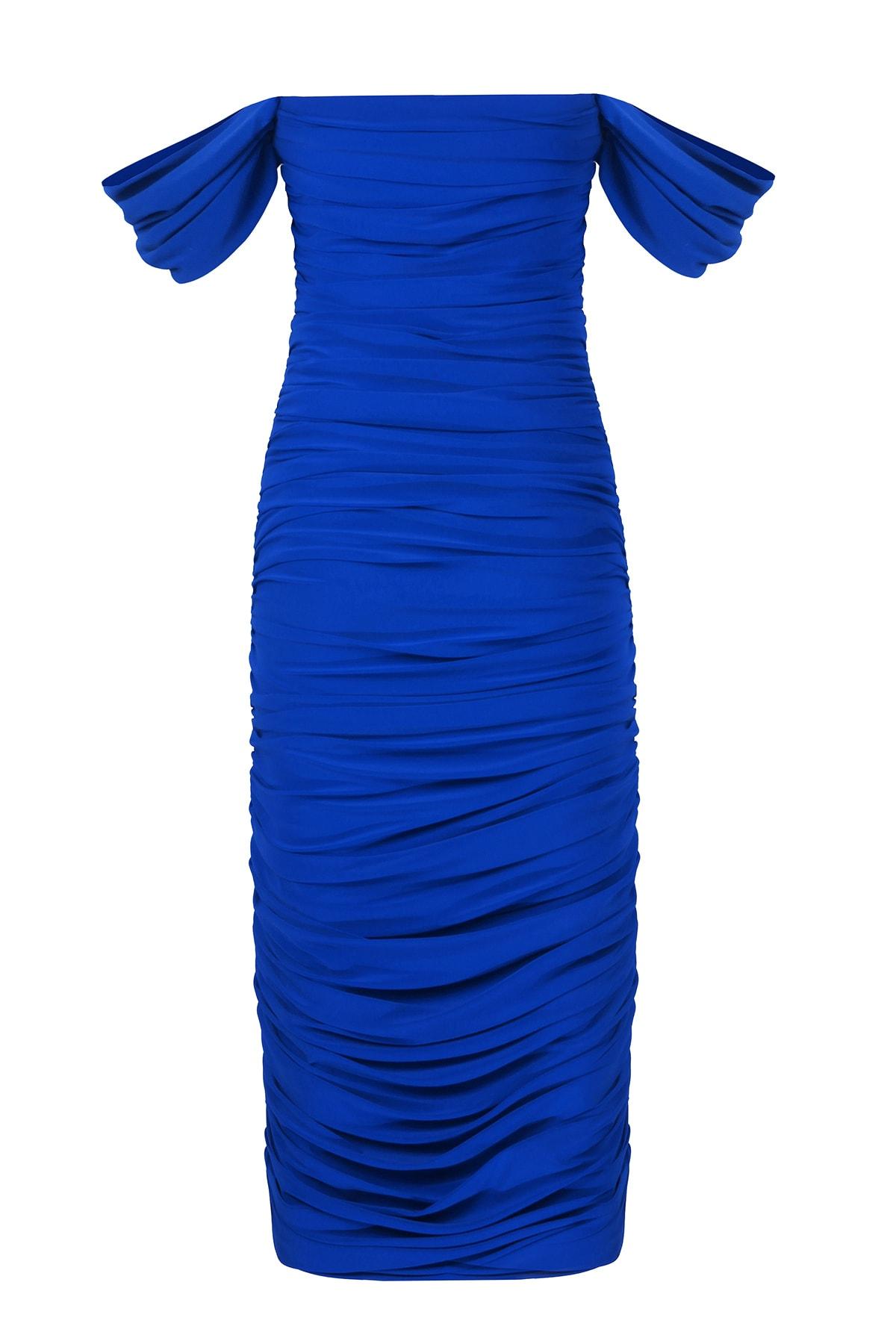 Whenever Company Saks Mavi Düşük Kol Degajeli Drapeli Midi Elbise 2