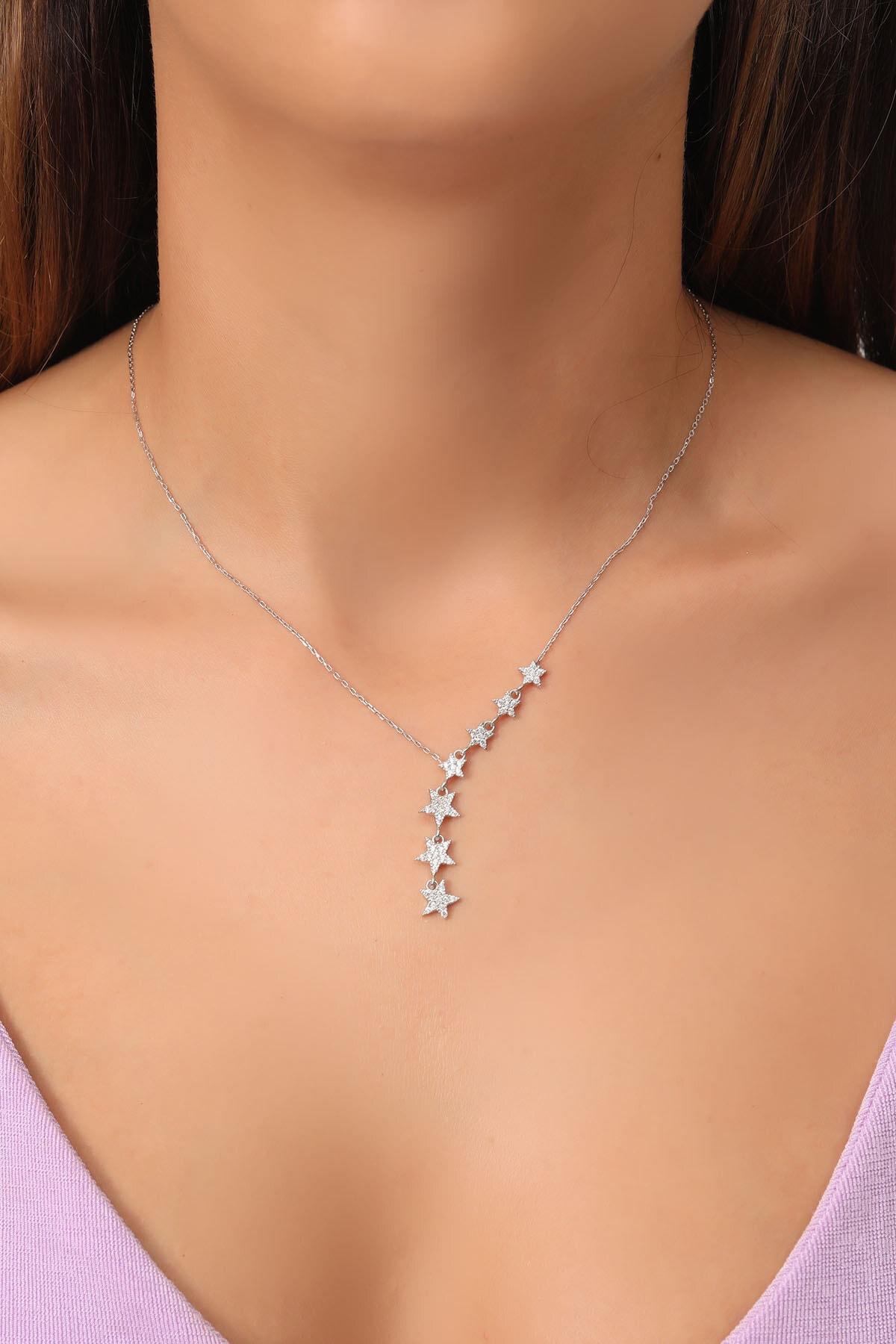takı tak silver Tamamı Saf 925 Ayar Gümüş Beyaz Zirkon Taşlı Sıralı 7 Yıldızlı Model Gümüş Kolye 1
