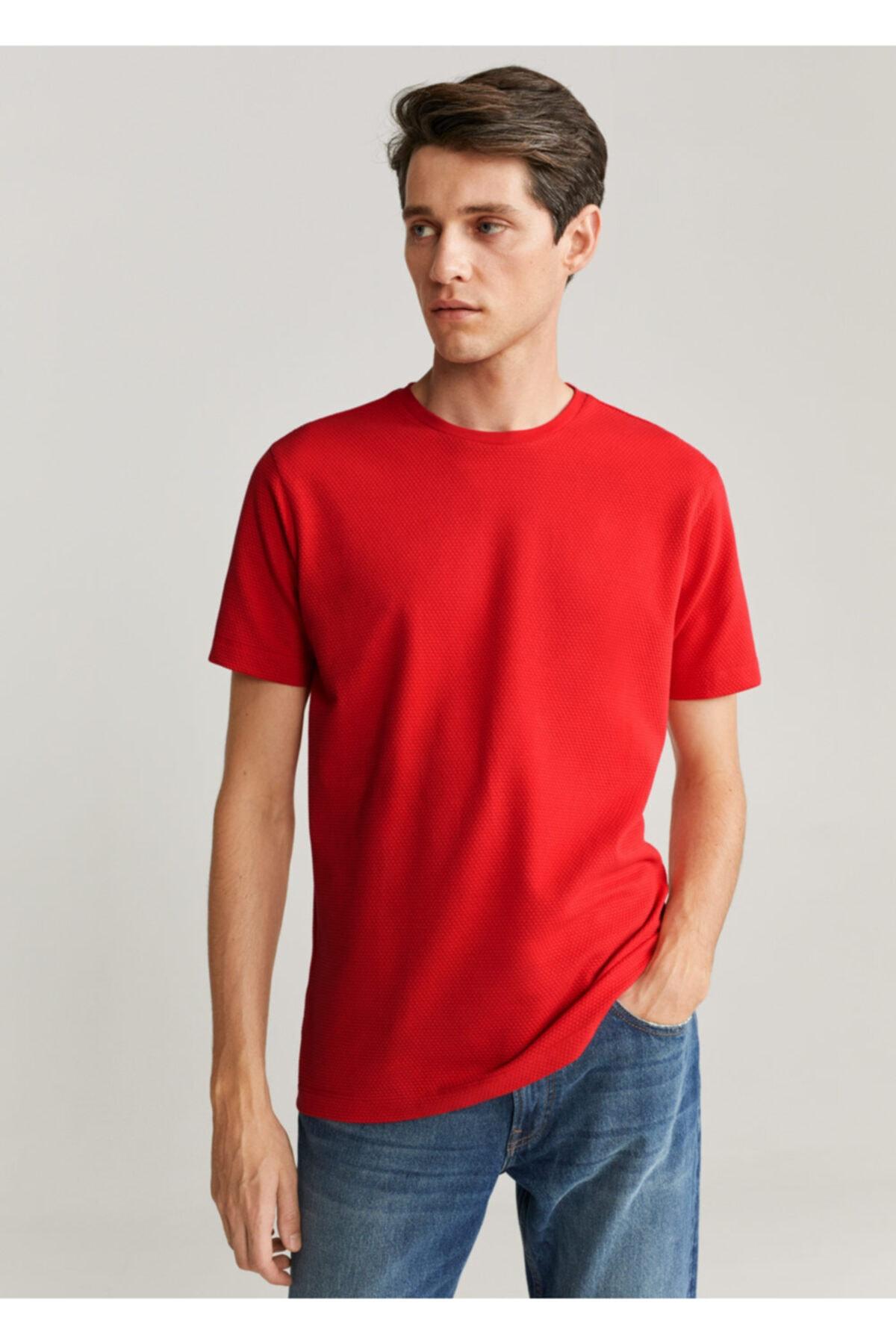MANGO Man Erkek Kırmızı Pamuklu Dokuma Tişört 67027671 1
