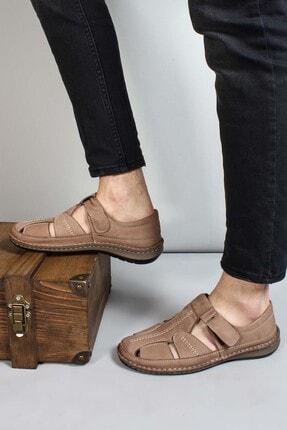 FAST STEP Hakiki Deri Kum Erkek Klasik Sandalet 662ma119b
