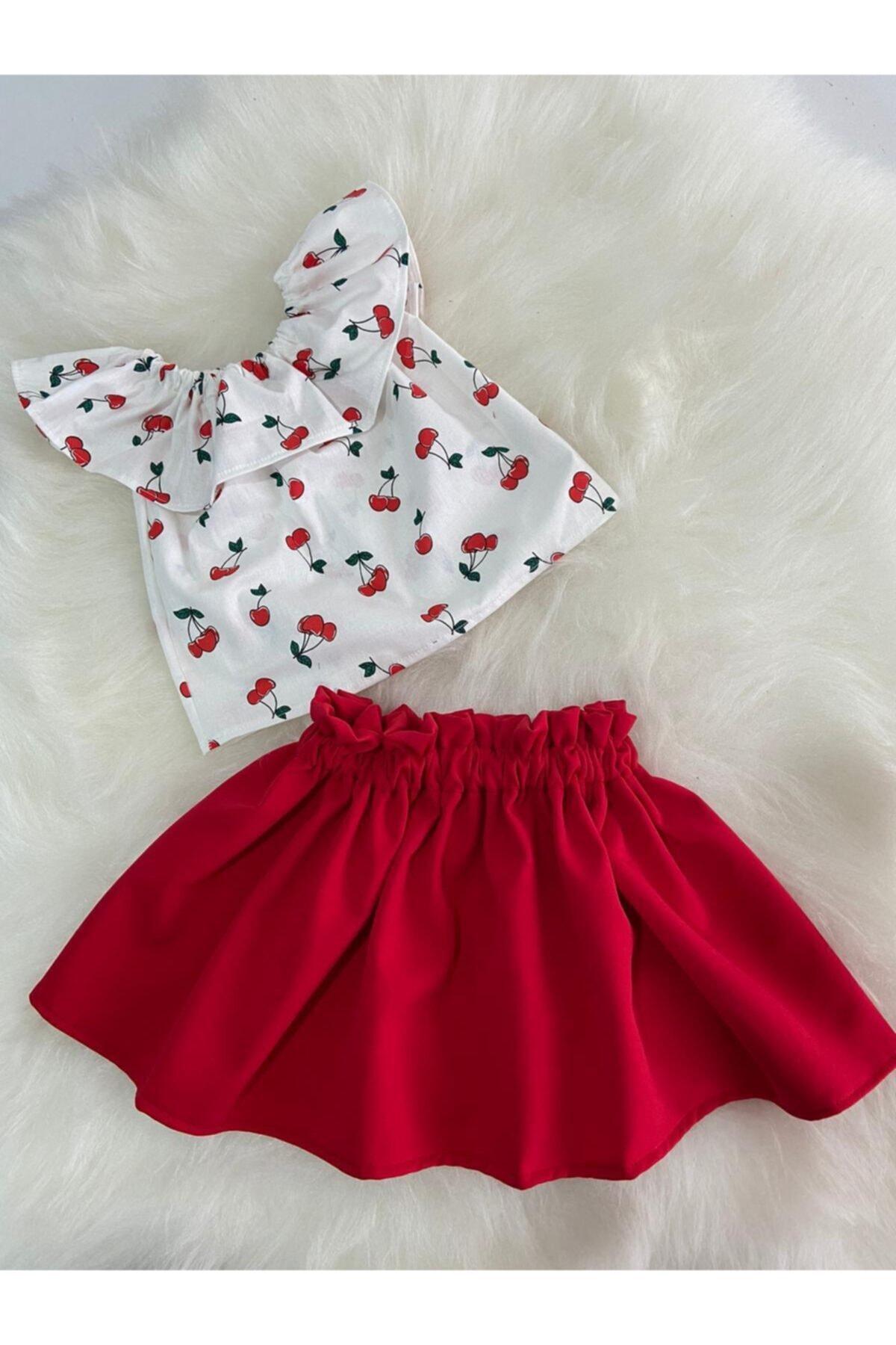 Moda Lina Kiraz Desen Etek Bluz Takım 1