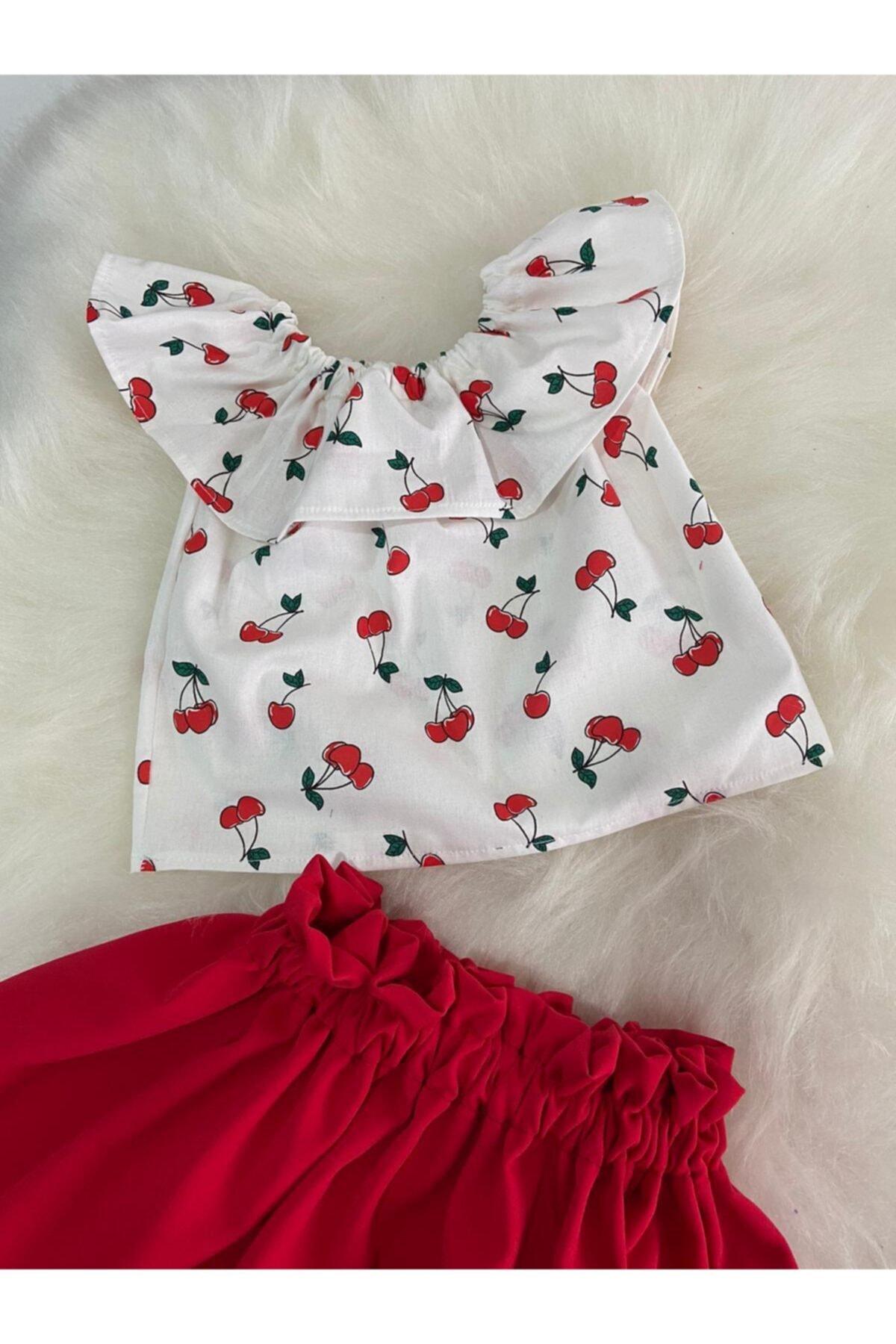 Moda Lina Kiraz Desen Etek Bluz Takım 2