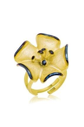 Gumush Kadın Sarı Çiçek Gümüş Yüzük