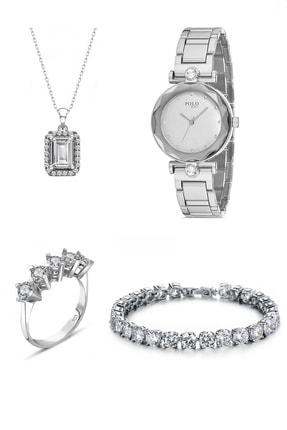 CHARM Kadın  925 Ayar Gümüş Kolye Beştaş Yüzük Zirkon Bileklik Kol Saati