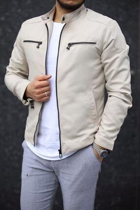 DENSMOOD Erkek Bej Renk Fermuar Detay Baharlık Ceket