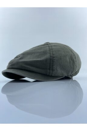 mercantoptan Unisex Haki Kanvas İngiliz 8 Parca Kasket Şapka