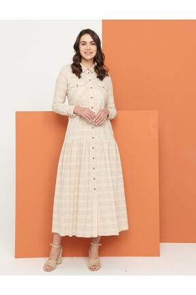 Kayra Düğme Kapamalı Keten Elbise Pudra B21 23115