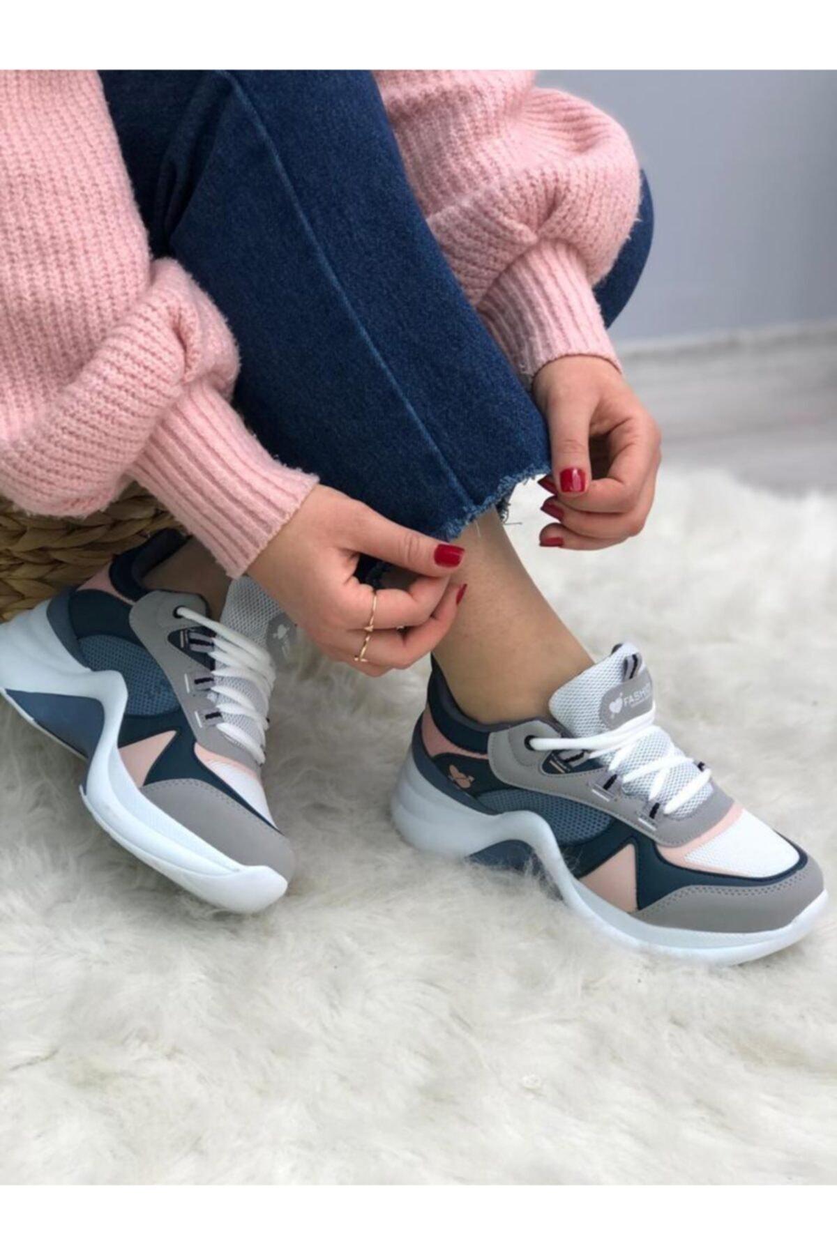 TUGGON Kadın Pudra Dolgu Topuk Ortopedik Spor Ayakkabı 1