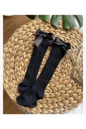 ArdenKids Siyah Kurdeleli Bebek Diz Altı Çorap