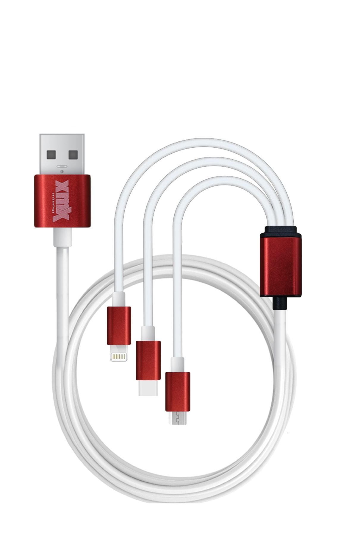 xmx 3'lü Şarj Kablosu Iphone Lightning , Micro Usb , Type C Uyumlu Şarj Ve Data Kablosu 1