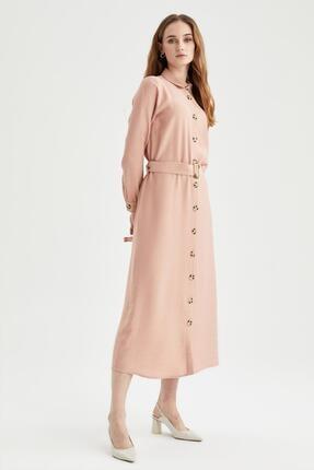 DeFacto Modest Gömlek Yaka Relax Fit Elbise