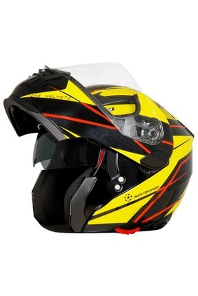 Yohe Motorsiklet 958 Energy Yellow Çene Açılır Kask