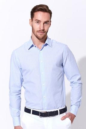 Hemington Açık Mavi Beyaz Çizgili Pamuk Gömlek