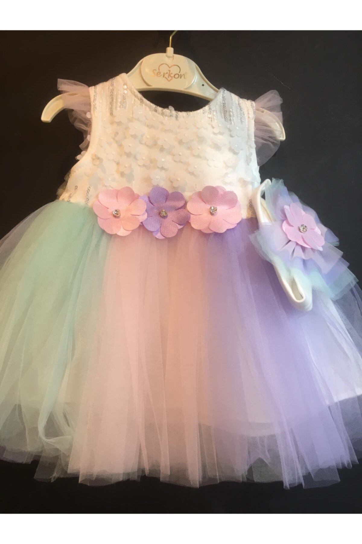Serkon Kids Unicorn Saç Bantlı Abiye Elbise 2