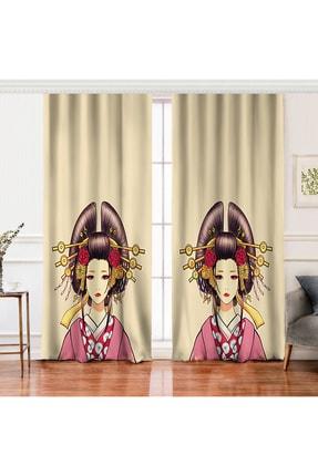 Realhomes Çift Kanat Masum Baskan Japon Kız Motifli Modern Dijital Baskılı Fon Perde
