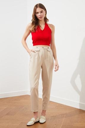 TRENDYOLMİLLA Taş Düğme Detaylı Pantolon TWOSS21PL0432