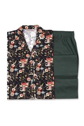Bellamy %100 Pamuk Özel Çiçekli Baskılı Kumaş Kadın 2'li Pijama Takım