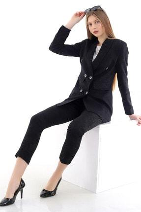R&M Collection Özel Tasarım, Kabartma Desenli, Jakar Kumaş Blazer Ceket, Kemerli Pantolon Takım