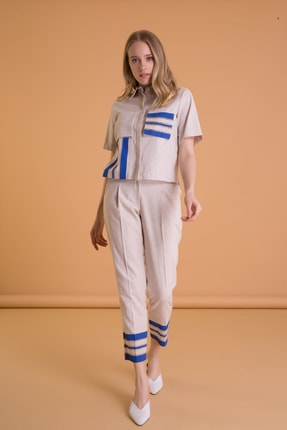 GIZIA CASUAL Şerit Detaylı Bilek Boy Bej Kumaş Pantolon