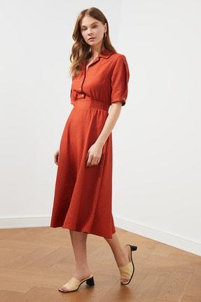 TRENDYOLMİLLA Turunc uGipe ve Düğme Detaylı Elbise TWOSS21EL1023