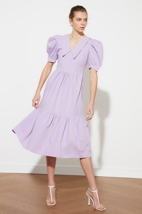TRENDYOLMİLLA Lila Yaka Detaylı Balon Kollu  Elbise TWOSS21EL1108