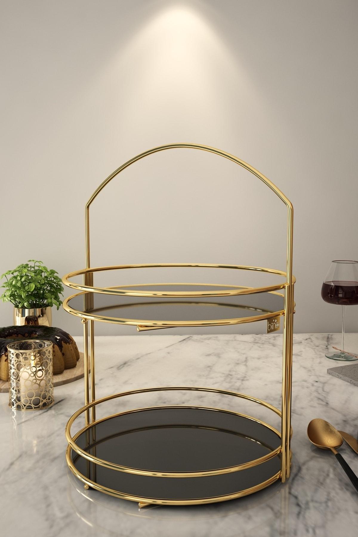 Bino Servis Sunum Ikramlık Gold Lüx 2 Katlı 40 Cm Organizer Sofra Mutfak Düzenleyici Pasta Standı 1