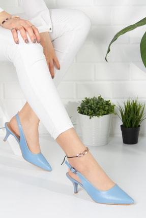 Alessia Shoes Kadın Mavi Analin Topuklu Ayakkabı