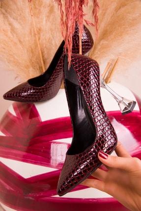 SOHO Bordo Yılan Kadın Klasik Topuklu Ayakkabı 15285
