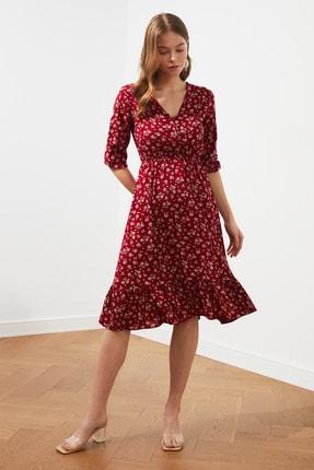 TRENDYOLMİLLA Bordo Çiçekli Düğmeli Elbise TWOSS20EL0577