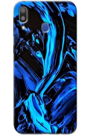 Turkiyecepaksesuar Samsung Galaxy M30 Desenli Kılıf + Tam Ekran Kaplayan Kırılmaya Dayanaklı 5d Cam