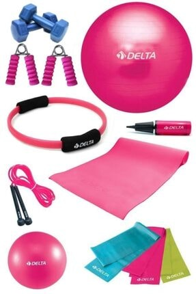Delta 55 cm Pilates Topu Çemberi 4 mm Minder El Yayı Dambıl Seti