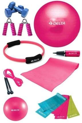 Delta 65 cm Pilates Topu Çemberi 4 mm Minder El Yayı Dambıl Seti