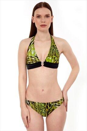 AYYILDIZ Kadın Yeşil Boyundan Bağlamalı Bikini Takımı 40664